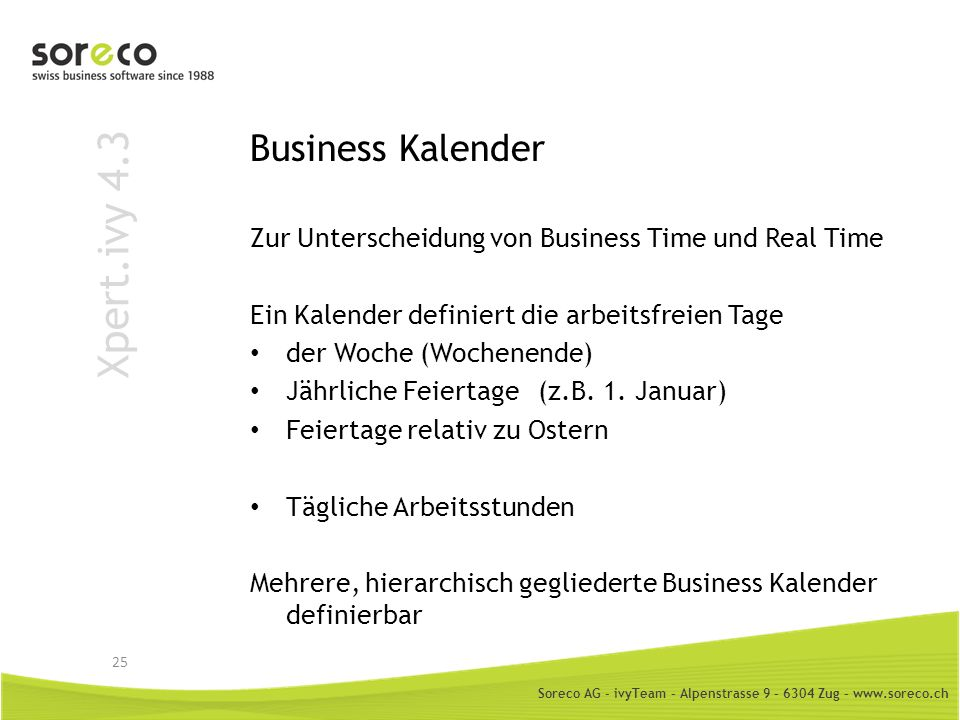 Xpert.ivy 4.3 Business Kalender