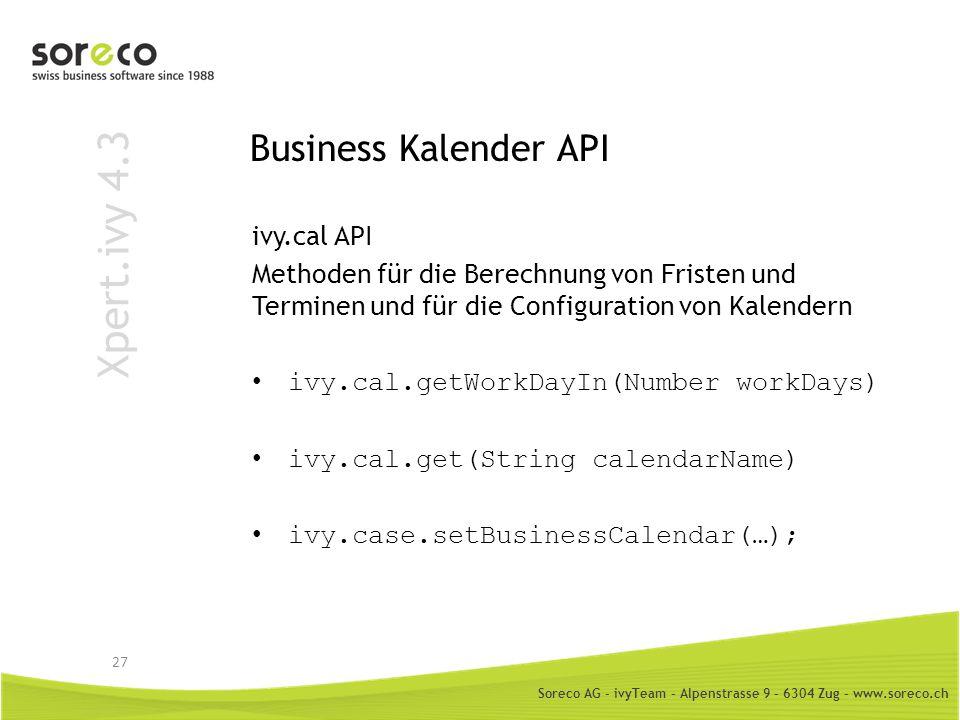 Xpert.ivy 4.3 Business Kalender API ivy.cal API