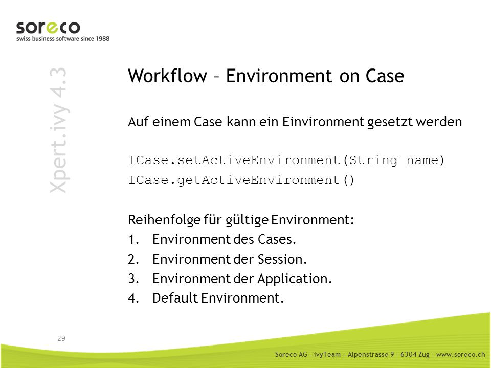 Workflow – Environment on Case