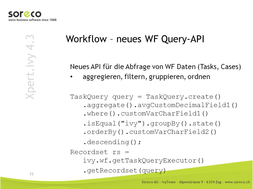 Workflow – neues WF Query-API