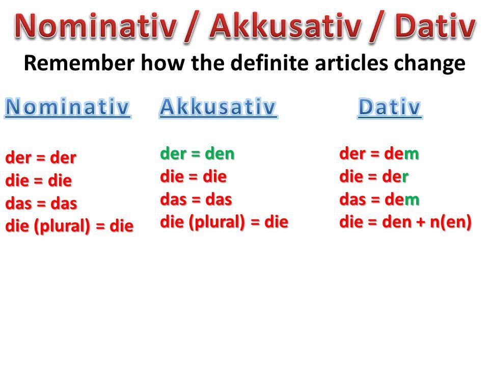 Nominativ / Akkusativ / Dativ