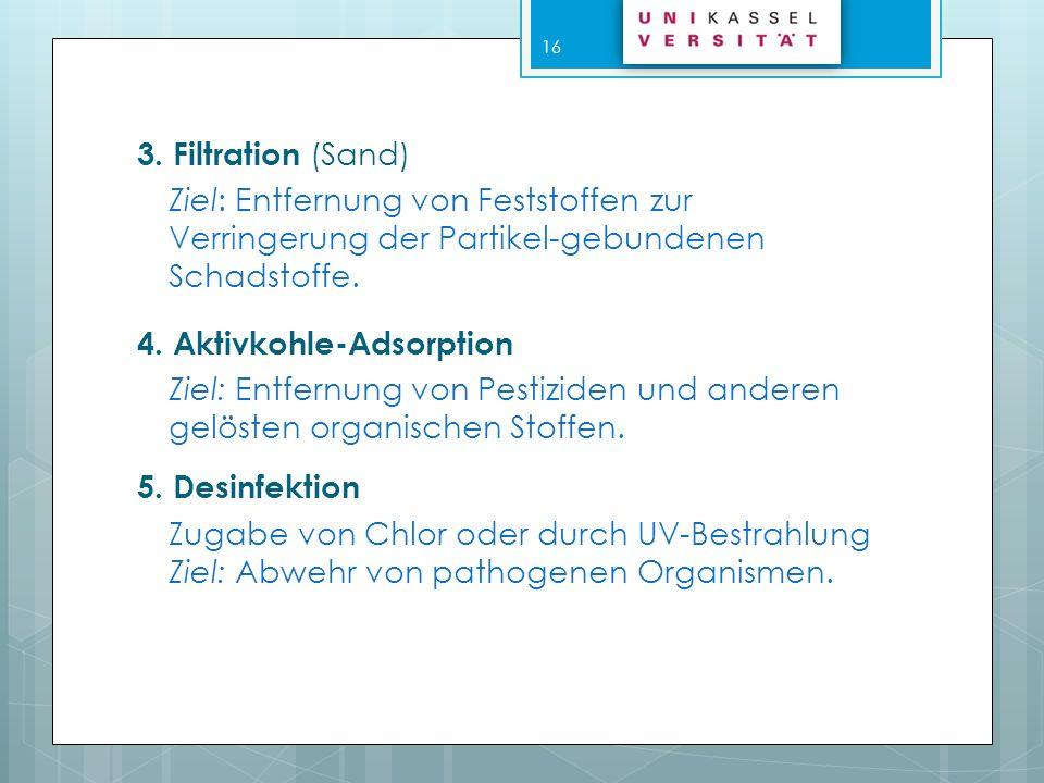 3. Filtration (Sand) Ziel: Entfernung von Feststoffen zur Verringerung der Partikel-gebundenen. Schadstoffe.