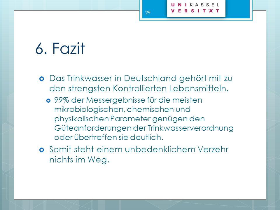 6. Fazit Das Trinkwasser in Deutschland gehört mit zu den strengsten Kontrollierten Lebensmitteln.