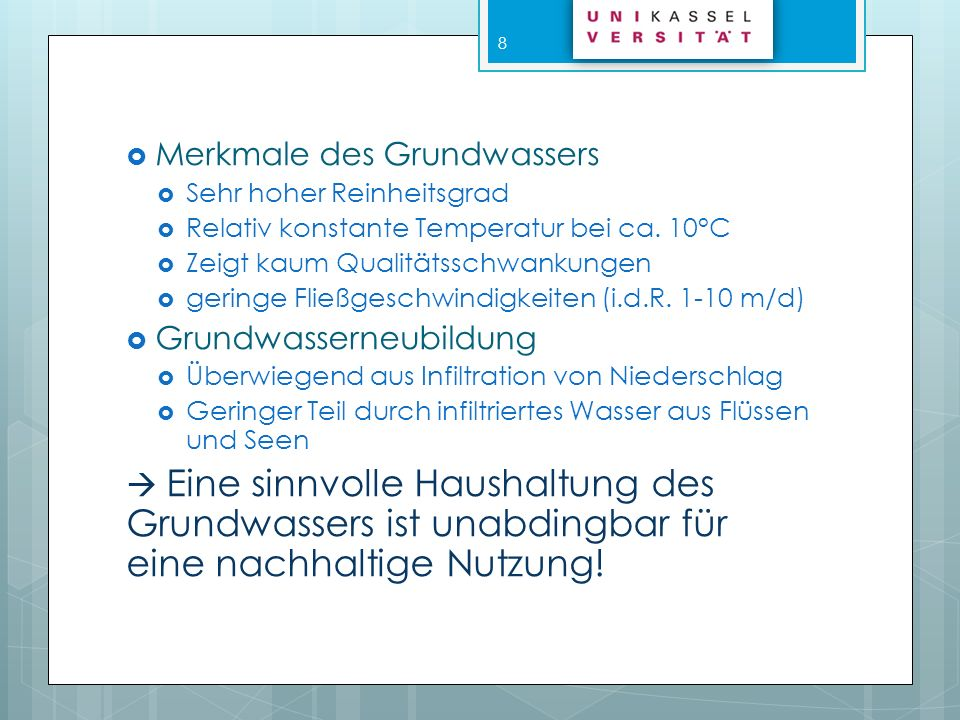 Merkmale des Grundwassers
