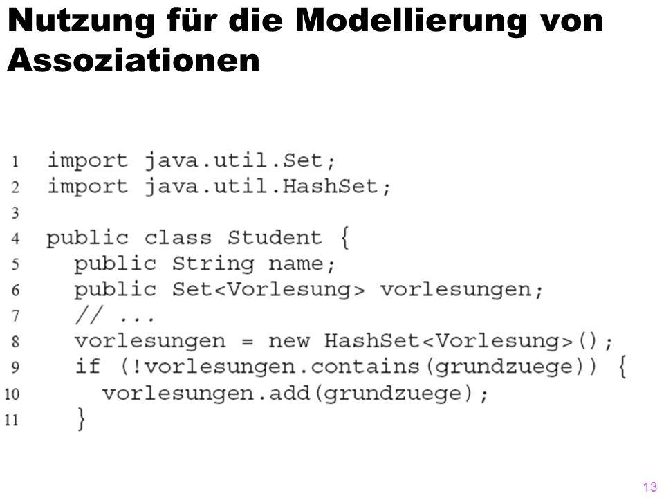 Nutzung für die Modellierung von Assoziationen