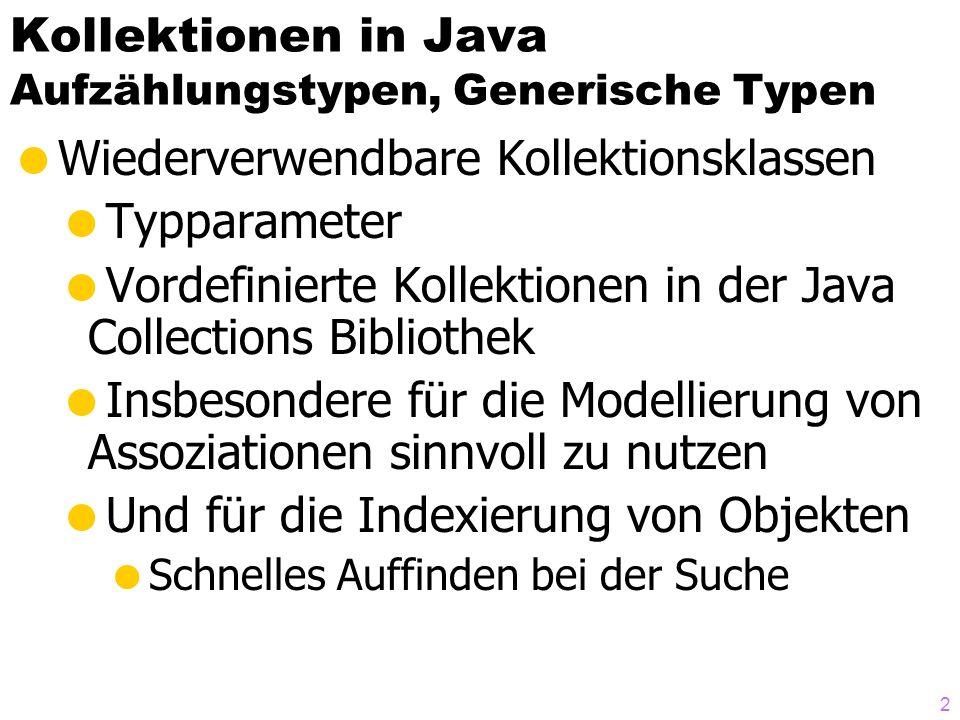 Kollektionen in Java Aufzählungstypen, Generische Typen