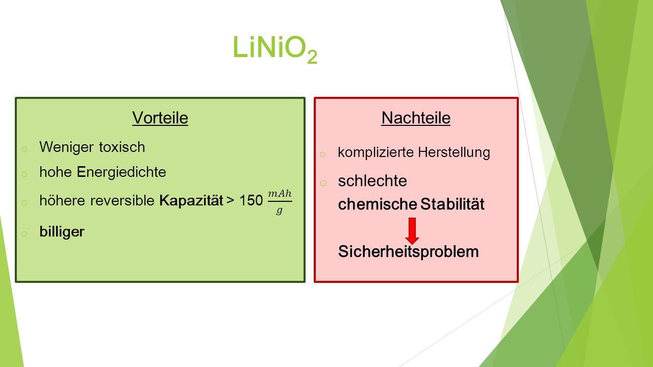 LiNiO2 Vorteile Nachteile schlechte chemische Stabilität