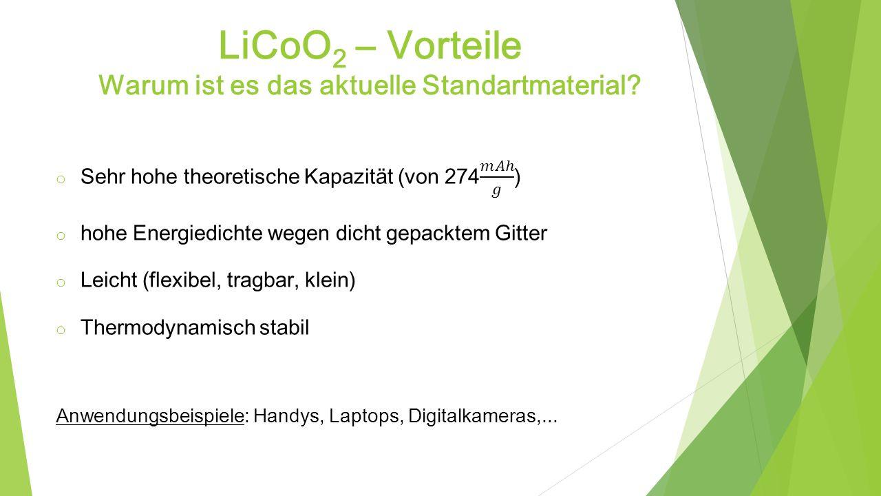 LiCoO2 – Vorteile Warum ist es das aktuelle Standartmaterial
