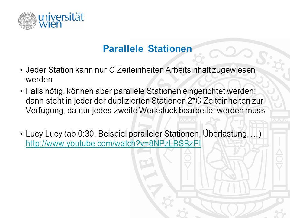 Parallele Stationen Jeder Station kann nur C Zeiteinheiten Arbeitsinhalt zugewiesen werden.