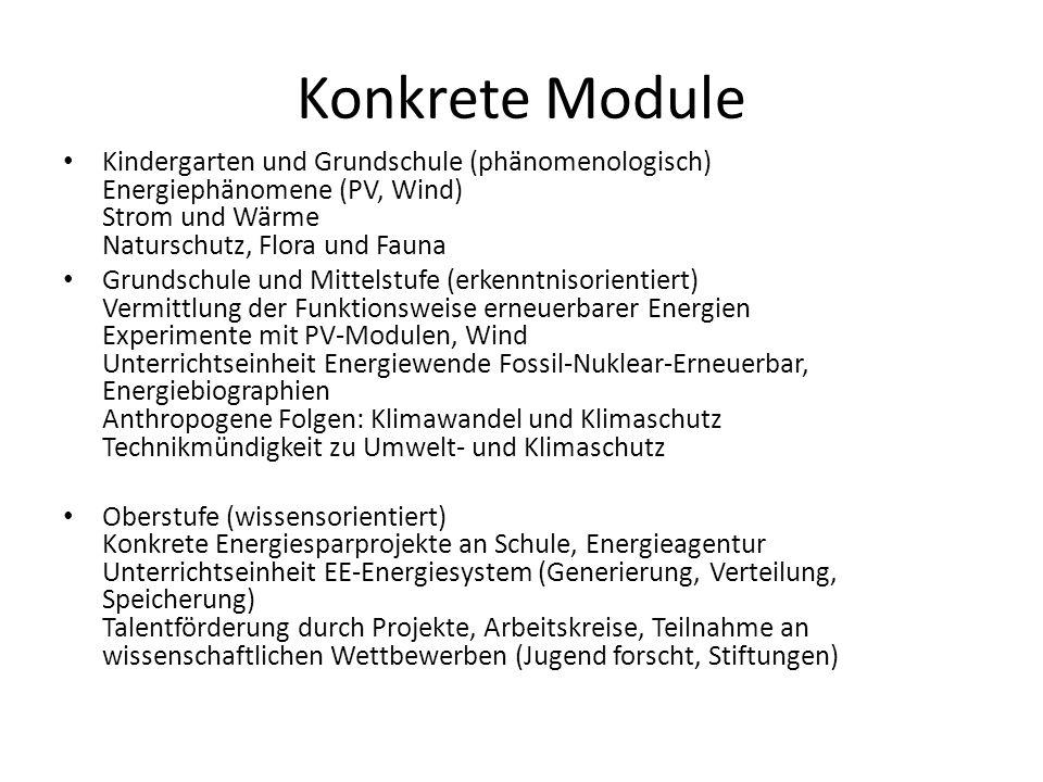 Konkrete Module Kindergarten und Grundschule (phänomenologisch) Energiephänomene (PV, Wind) Strom und Wärme Naturschutz, Flora und Fauna.