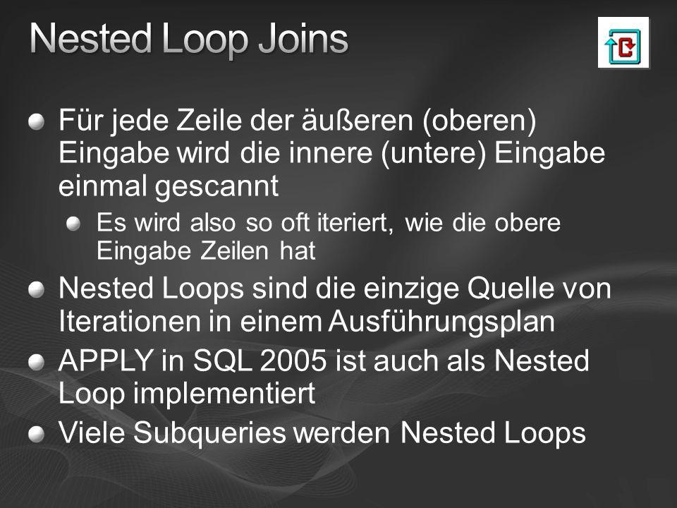 Nested Loop Joins Für jede Zeile der äußeren (oberen) Eingabe wird die innere (untere) Eingabe einmal gescannt.