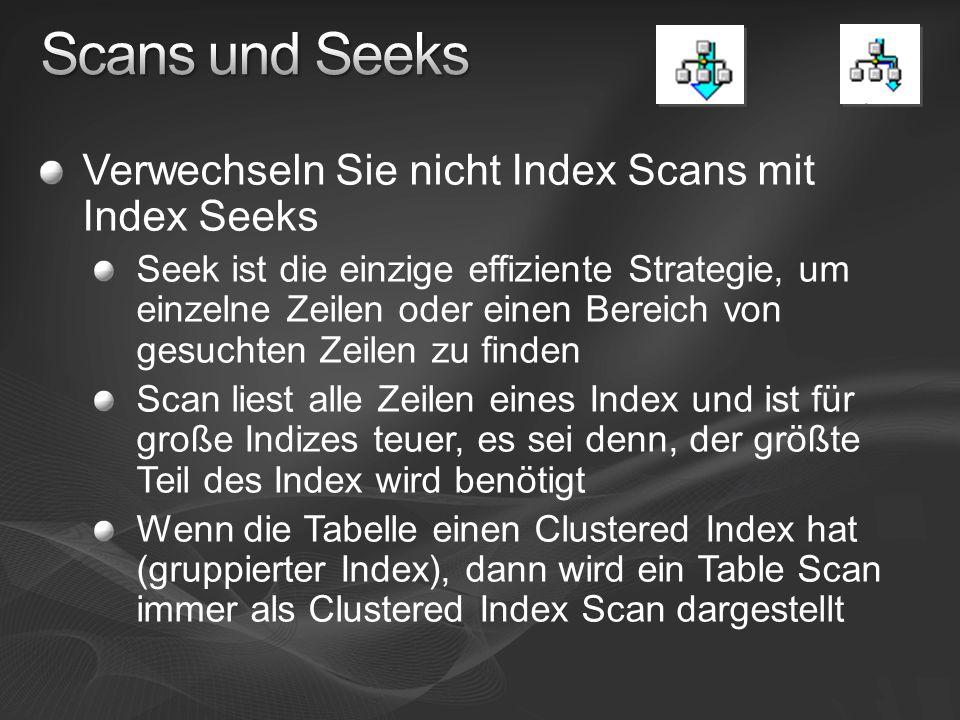 Scans und Seeks Verwechseln Sie nicht Index Scans mit Index Seeks