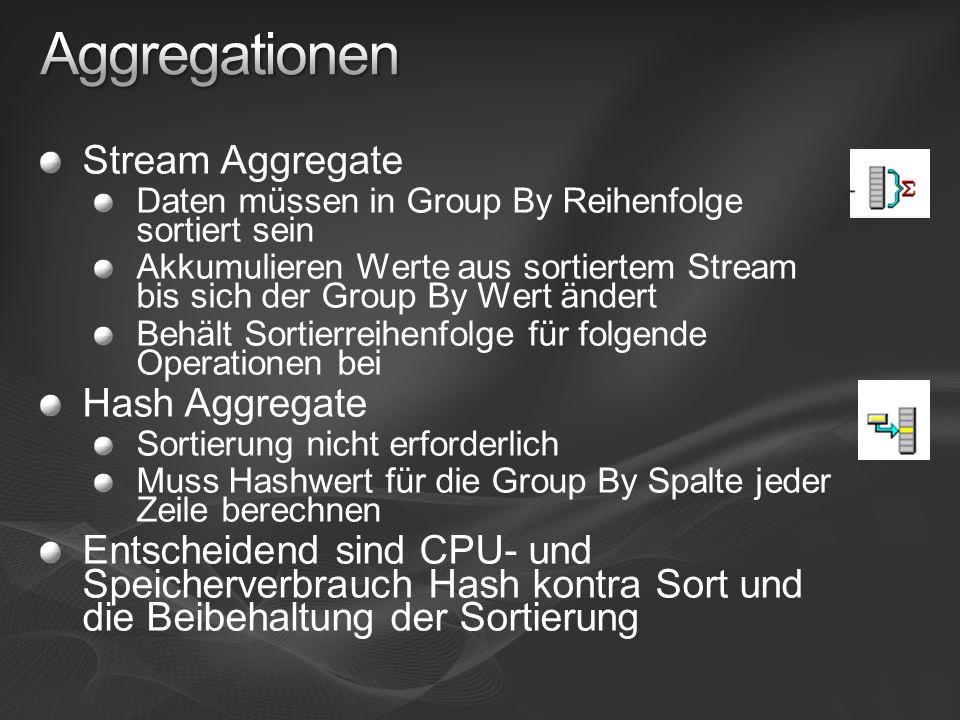 Aggregationen Stream Aggregate Hash Aggregate