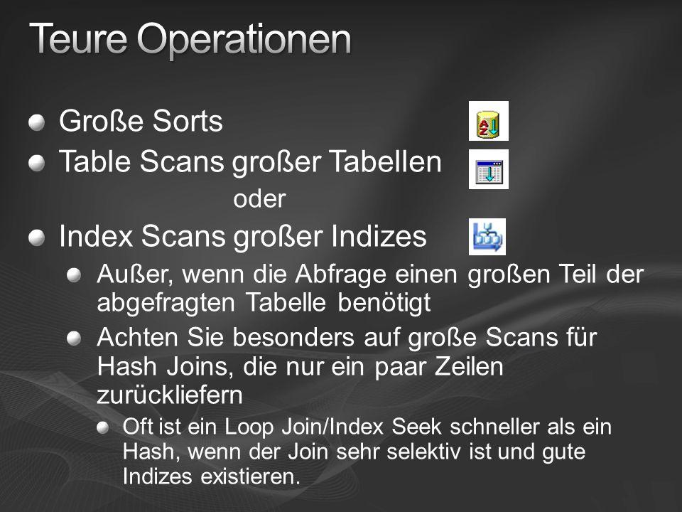 Teure Operationen Große Sorts Table Scans großer Tabellen