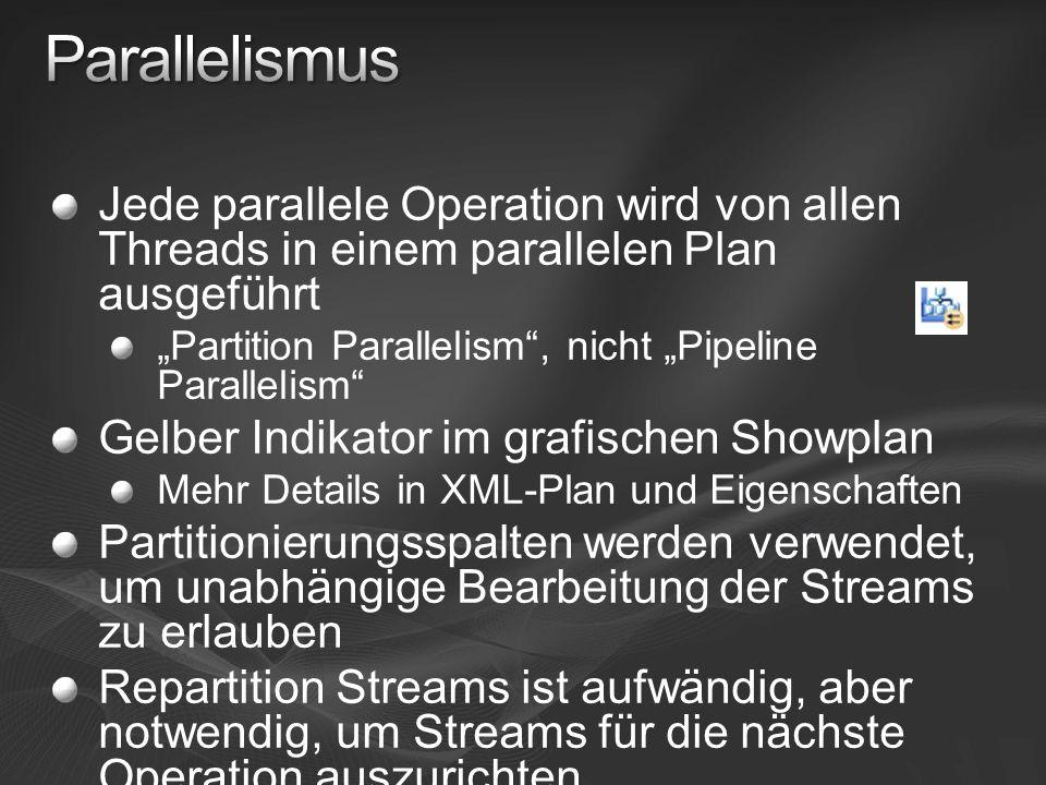 Parallelismus Jede parallele Operation wird von allen Threads in einem parallelen Plan ausgeführt.