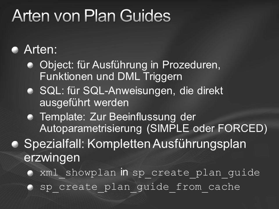 Arten von Plan Guides Arten: