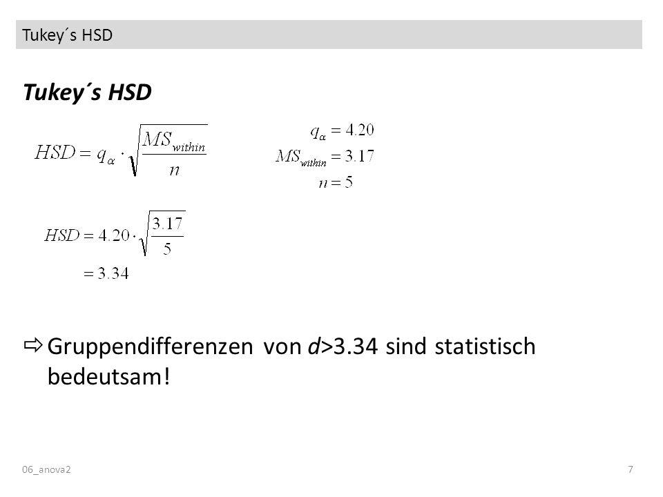 Tukey´s HSD Tukey´s HSD  Gruppendifferenzen von d>3.34 sind statistisch bedeutsam! 06_anova2 7