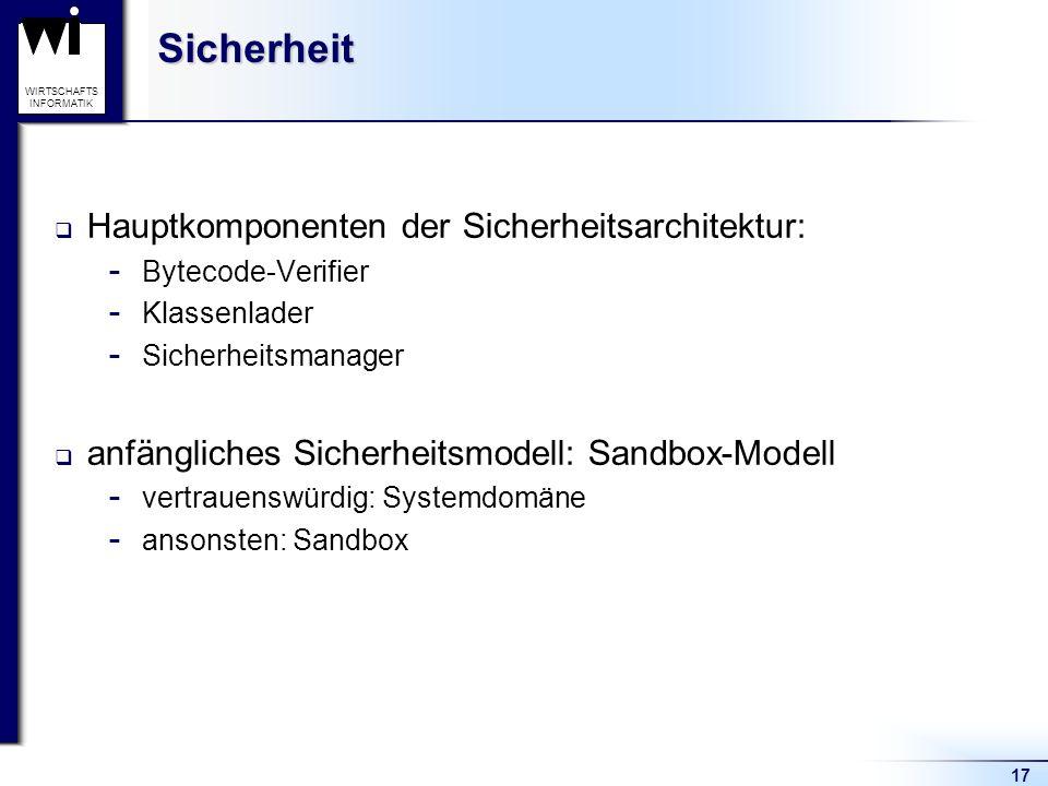 Sicherheit Hauptkomponenten der Sicherheitsarchitektur: