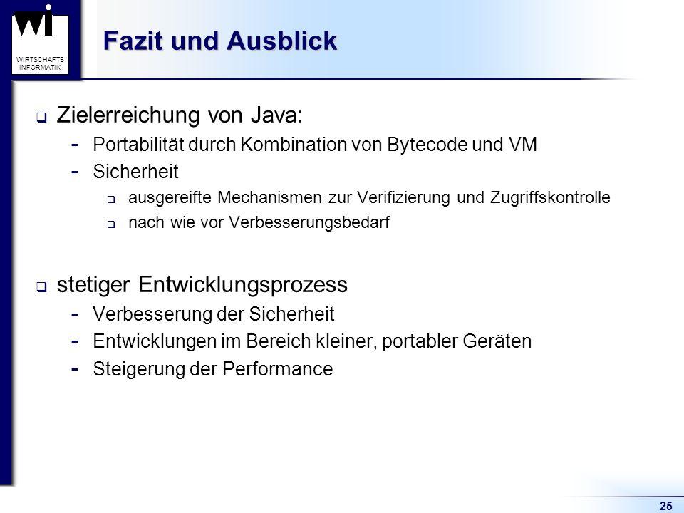 Fazit und Ausblick Zielerreichung von Java: