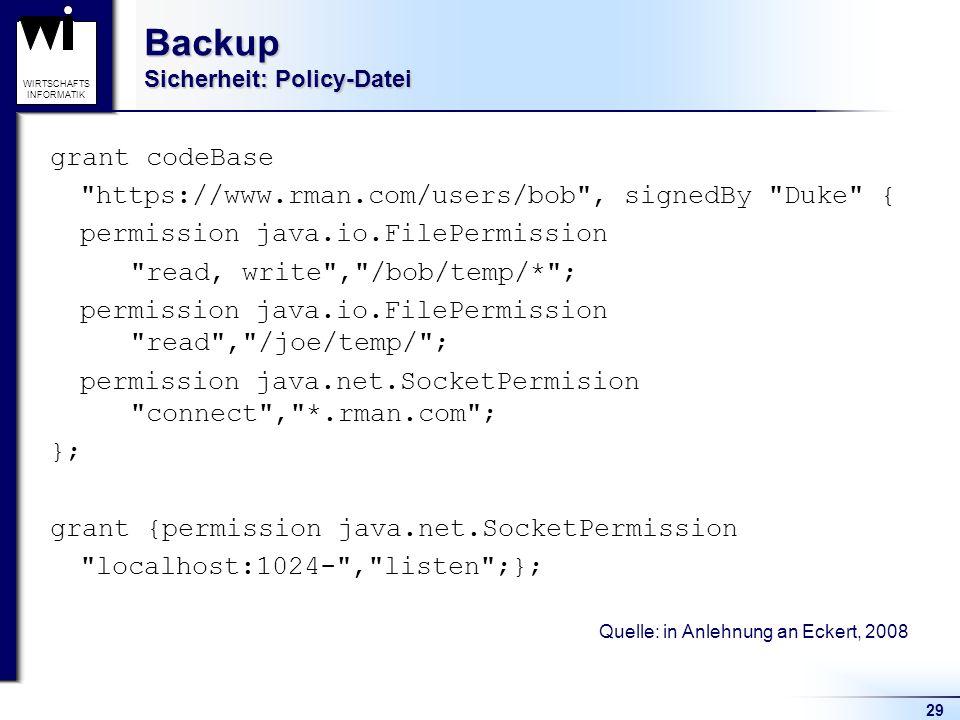 Backup Sicherheit: Policy-Datei