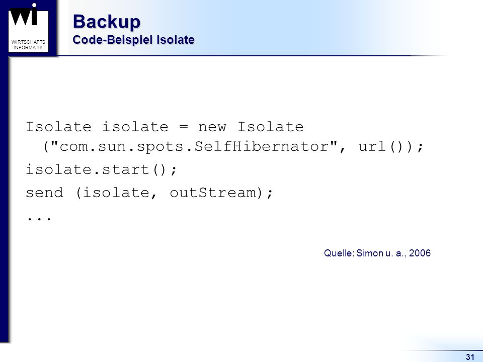 Backup Code-Beispiel Isolate