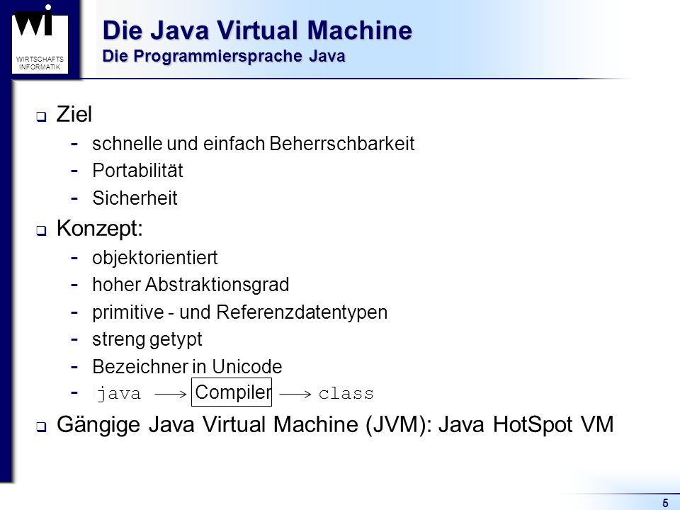 Die Java Virtual Machine Die Programmiersprache Java