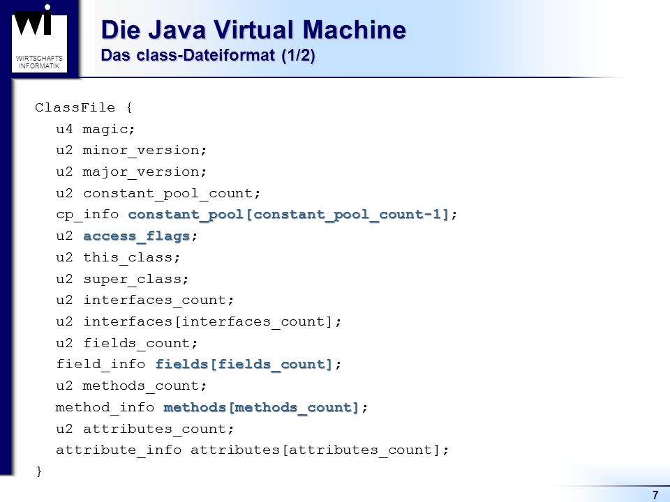 Die Java Virtual Machine Das class-Dateiformat (1/2)