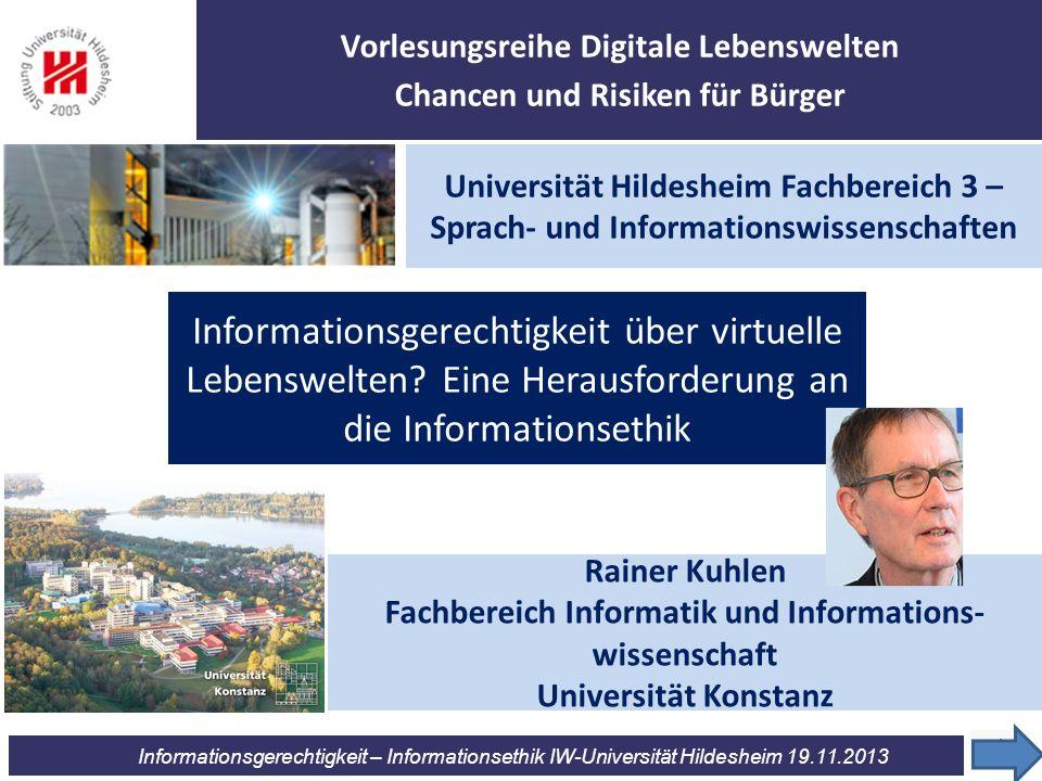 Vorlesungsreihe Digitale Lebenswelten Chancen und Risiken für Bürger