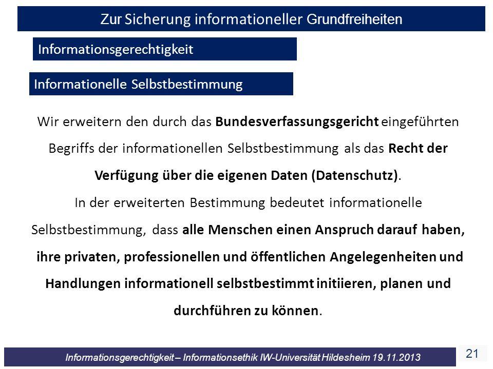 Zur Sicherung informationeller Grundfreiheiten