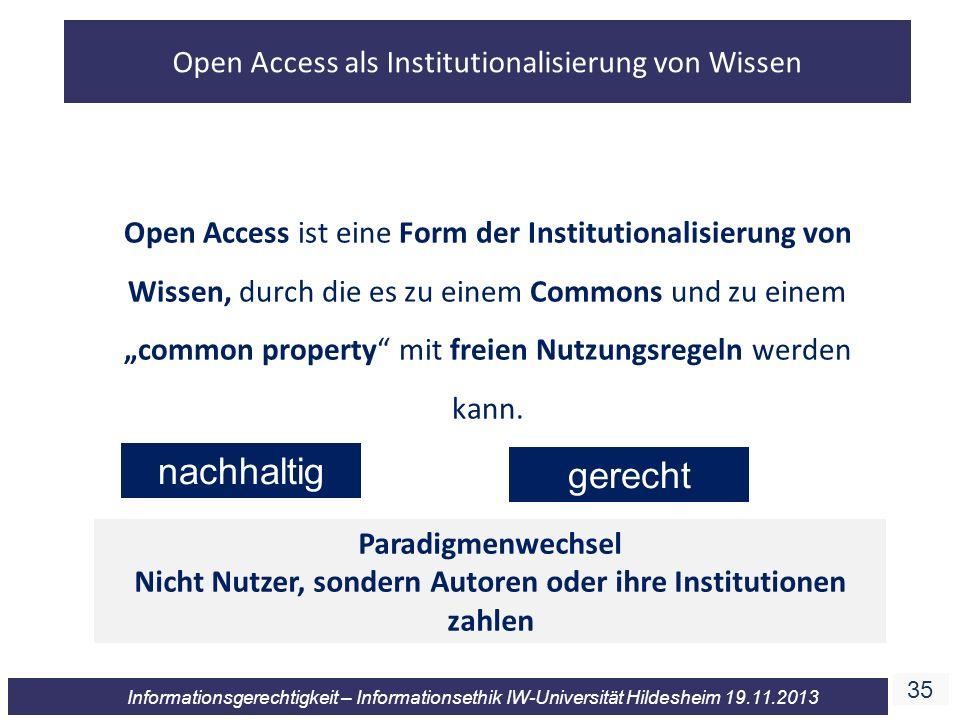 Nicht Nutzer, sondern Autoren oder ihre Institutionen zahlen