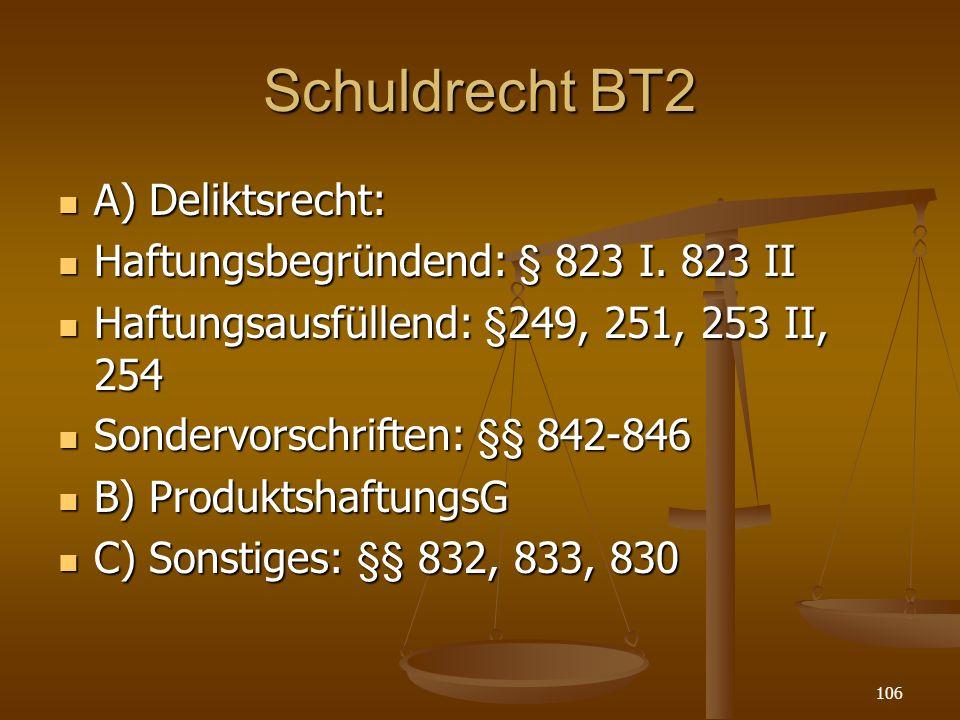 Schuldrecht BT2 A) Deliktsrecht: Haftungsbegründend: § 823 I. 823 II