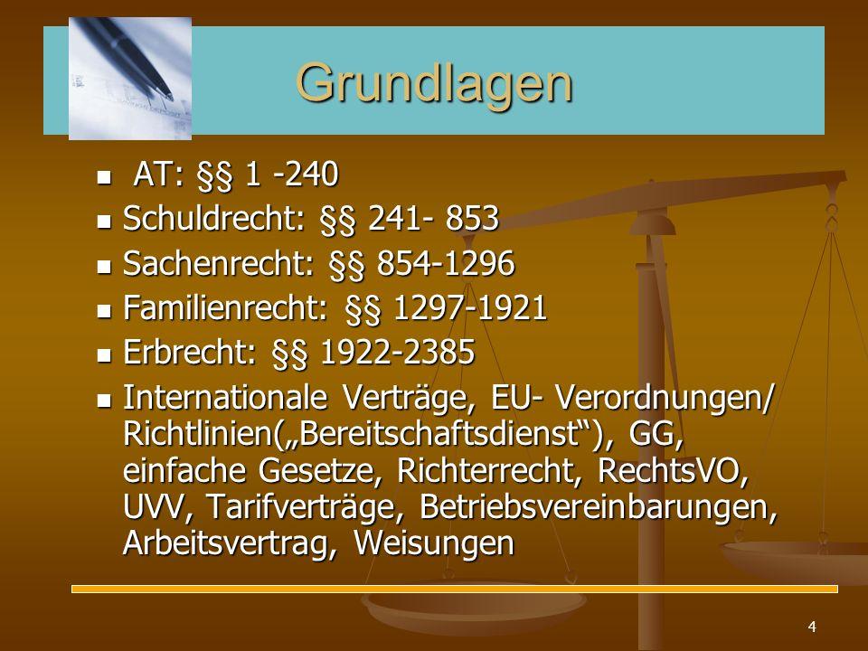 Grundlagen AT: §§ 1 -240 Schuldrecht: §§ 241- 853