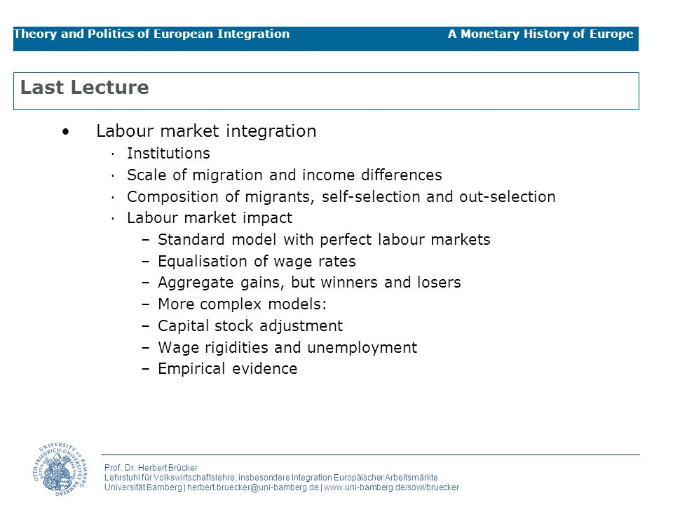 Last Lecture Labour market integration Institutions