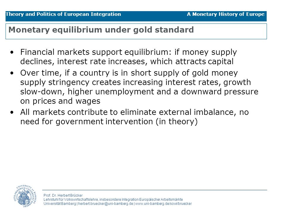 Monetary equilibrium under gold standard