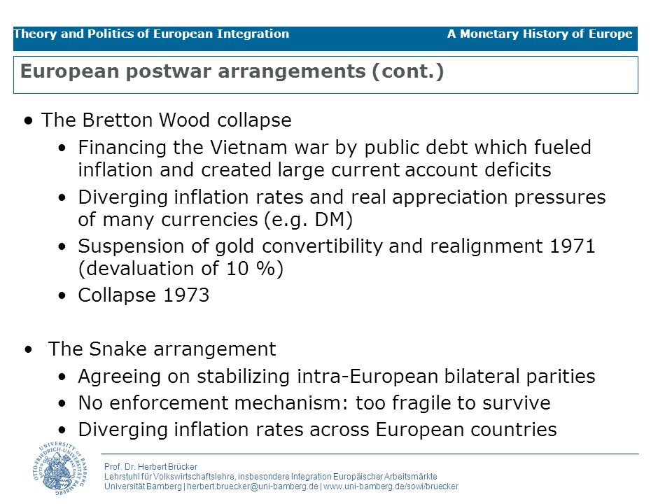 European postwar arrangements (cont.)