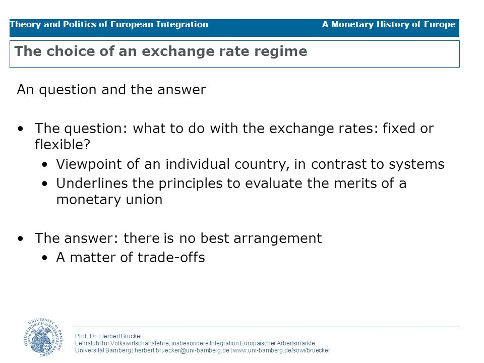 The choice of an exchange rate regime