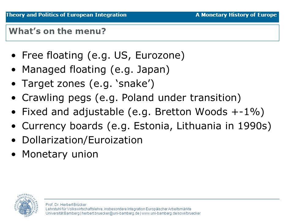 Free floating (e.g. US, Eurozone) Managed floating (e.g. Japan)