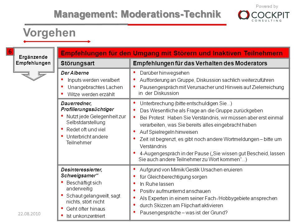 Vorgehen6. Ergänzende. Empfehlungen. Empfehlungen für den Umgang mit Störern und Inaktiven Teilnehmern.