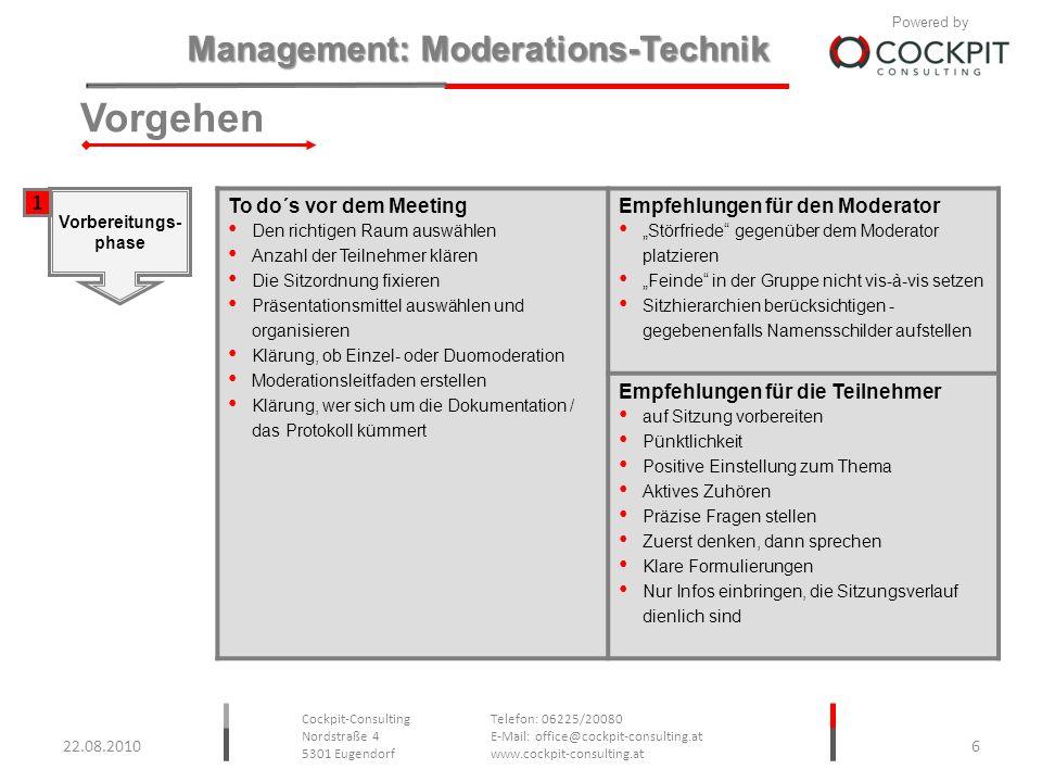 Vorgehen 1 To do´s vor dem Meeting Empfehlungen für den Moderator