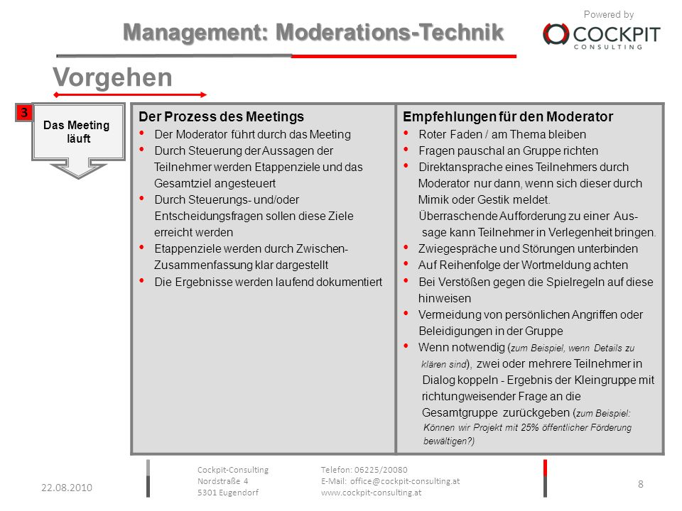 Vorgehen 3 Der Prozess des Meetings Empfehlungen für den Moderator