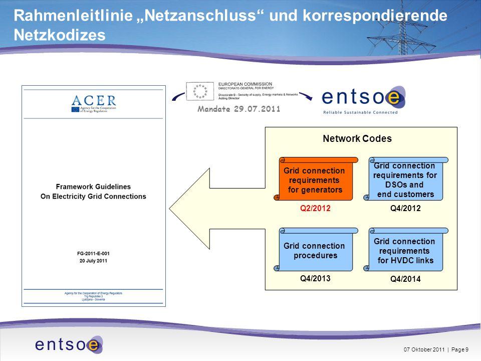 """Rahmenleitlinie """"Netzanschluss und korrespondierende Netzkodizes"""