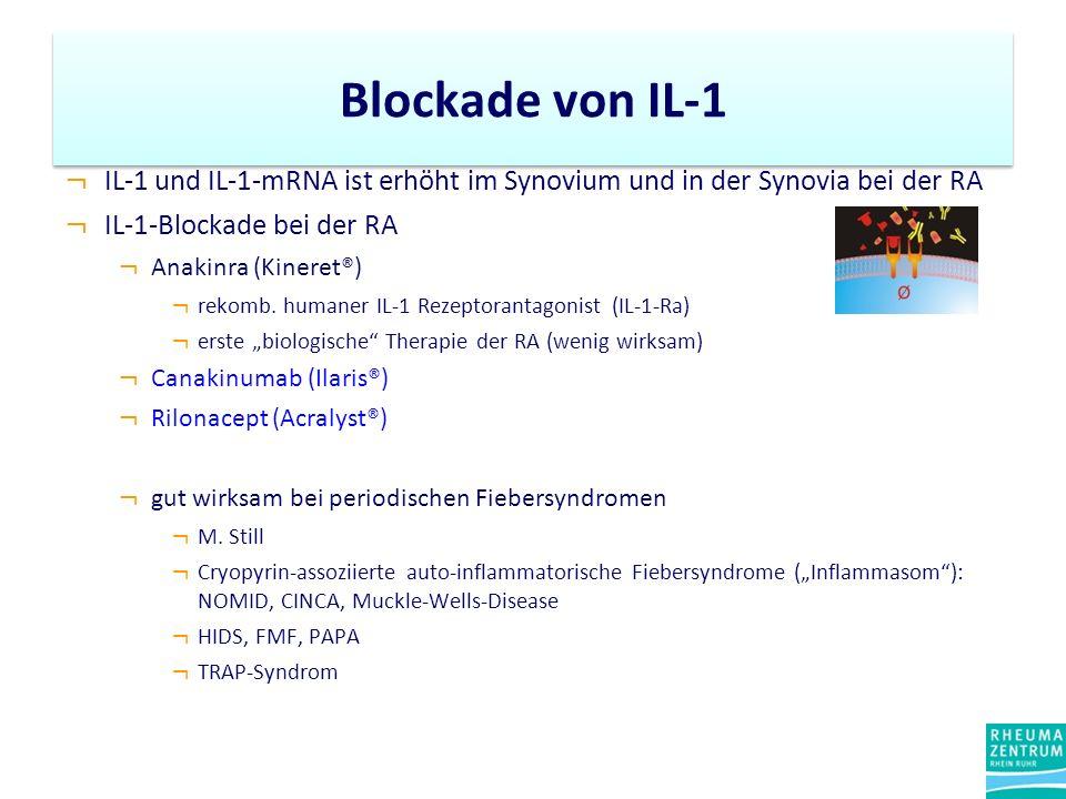 Blockade von IL-1 IL-1 und IL-1-mRNA ist erhöht im Synovium und in der Synovia bei der RA. IL-1-Blockade bei der RA.