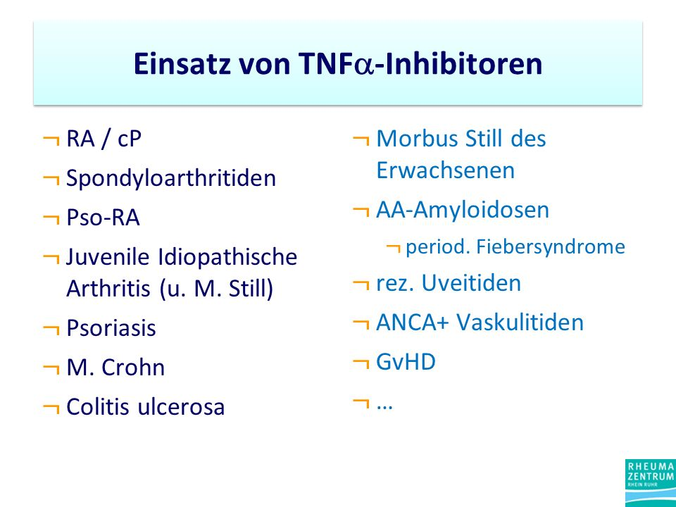 Einsatz von TNF-Inhibitoren