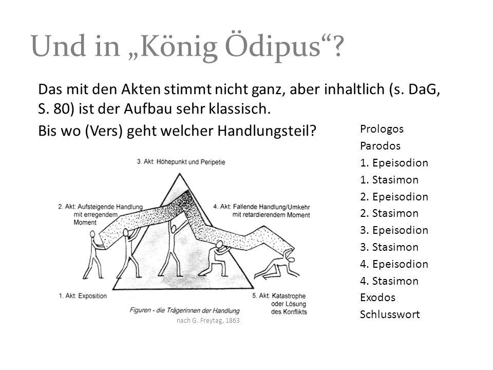 """Und in """"König Ödipus Das mit den Akten stimmt nicht ganz, aber inhaltlich (s. DaG, S. 80) ist der Aufbau sehr klassisch."""