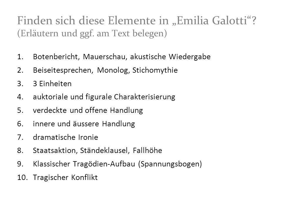"""Finden sich diese Elemente in """"Emilia Galotti . (Erläutern und ggf"""