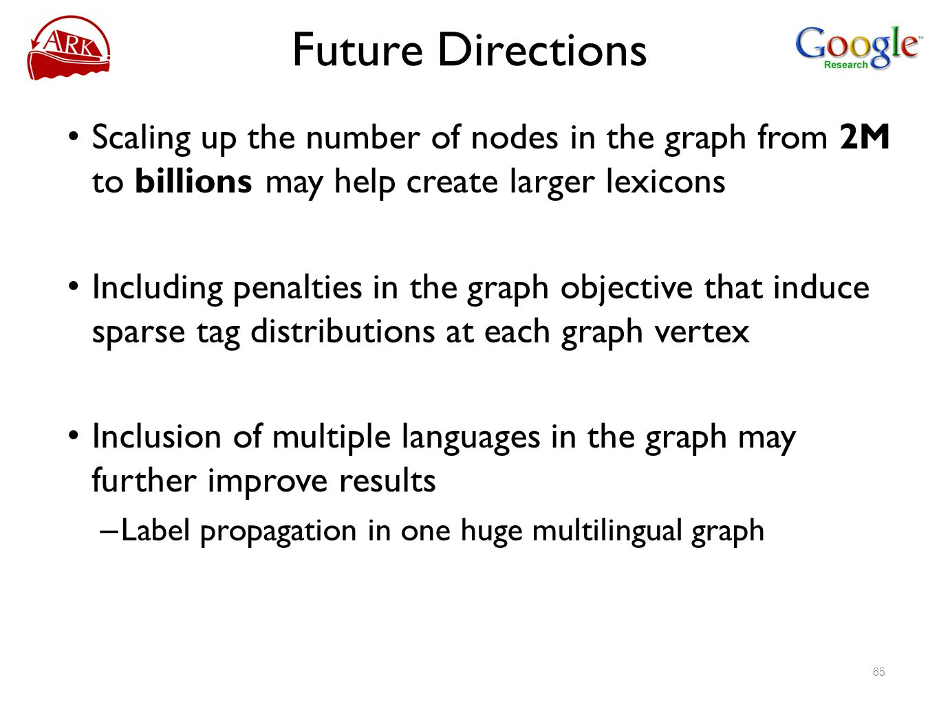 Future Directions Scaling up the number of nodes in the graph from 2M to billions may help create larger lexicons.