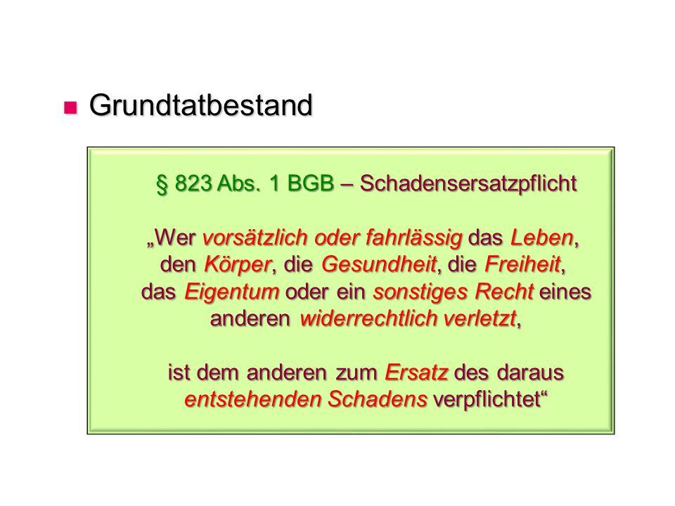 § 823 Abs. 1 BGB – Schadensersatzpflicht
