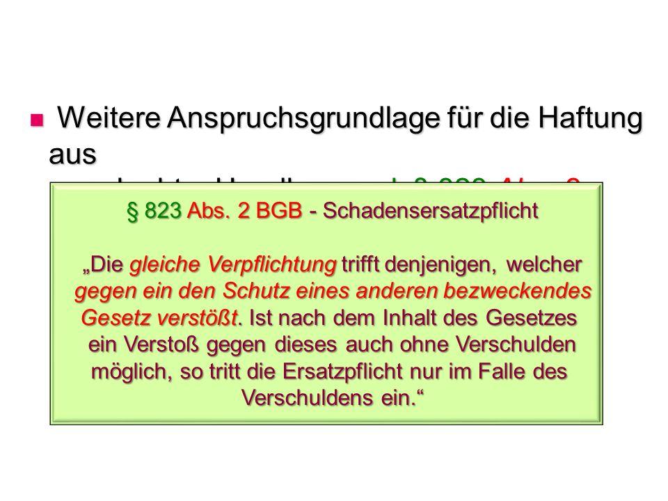 § 823 Abs. 2 BGB - Schadensersatzpflicht