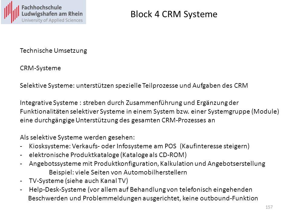 Block 4 CRM Systeme Technische Umsetzung CRM-Systeme