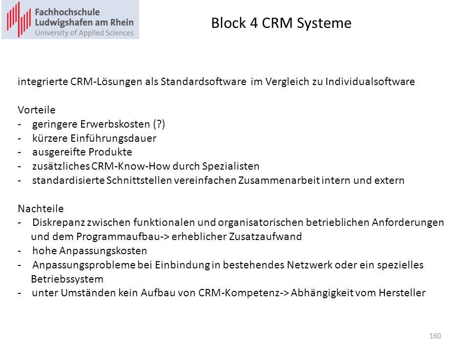 Block 4 CRM Systeme integrierte CRM-Lösungen als Standardsoftware im Vergleich zu Individualsoftware.